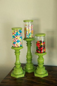 Get some assorted sized jars, fill with candy. Paint candle sticks. Kids and adults love this for home or the office!